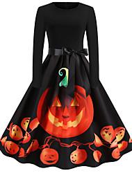 Недорогие -Платья Взрослые Жен. Винтаж Хэллоуин Хэллоуин Фестиваль / праздник Хлопко-полимерная смешанная ткань Оранжевый Жен. Карнавальные костюмы / Платье