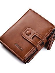 Недорогие -Муж. Молнии PU Бумажники Сплошной цвет Черный / Коричневый