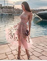 Недорогие -Жен. Классический Рубашка Платье - Однотонный Средней длины