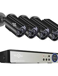 Недорогие -Hiseeu 8-канальный 5-мегапиксельная система видеонаблюдения DVR 4шт на открытом воздухе водонепроницаемая камера безопасности день / ночь сделай сам комплект системы видеонаблюдения