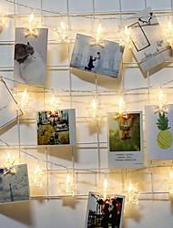 Недорогие -Струнные светильники 3 м 20 светодиодов теплого белого / RGB / белый креатив / вечеринка / звезда фото клип фонарь / атмосфера для вечеринки по случаю дня рождения / декоративные ааа на батарейках 1