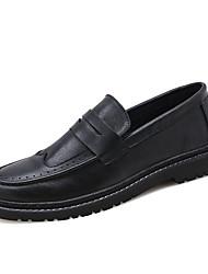 baratos -Homens Sapatos de couro Couro de Porco Outono Oxfords Preto / Marron / Festas & Noite