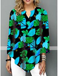 billige -T-skjorte Dame - Blomstret Gul