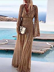 Недорогие -Жен. Вечеринка А-силуэт С летящей юбкой Платье Пайетки Глубокий V-образный вырез Макси