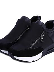 Недорогие -Жен. Спортивная обувь На плоской подошве Круглый носок Полотно Беговая обувь Наступила зима Черный / Красный