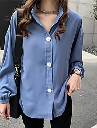 Недорогие -Жен. Рубашка Классический Однотонный Синий