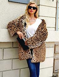 Недорогие -Жен. Повседневные Длинная Искусственное меховое пальто, Леопард Капюшон Длинный рукав Искусственный мех Коричневый