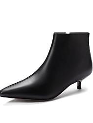 billige -Dame Støvler Liten hæl Spisstå PU Ankelstøvler minimalisme Høst Svart / Beige
