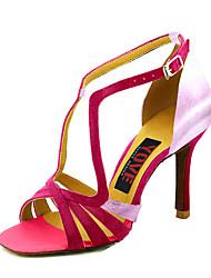Недорогие -Жен. Танцевальная обувь Сатин Обувь для сальсы Пряжки На каблуках Тонкий высокий каблук Персонализируемая Лиловый / Пурпурный / Красный
