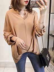Недорогие -Жен. Рубашка Классический Однотонный Оранжевый