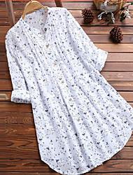 Недорогие -Жен. Пэчворк / С принтом Рубашка Классический Цветочный принт Белый