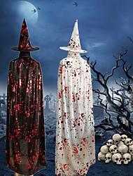 Недорогие -взрослые дети хэллоуин страшный блеск кровавый отпечаток руки плащ с ведьма шляпа смерть демон плащ косплей костюм аксессуары для вечеринок