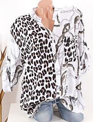 billige -Skjorte Dame - Leopard Svart