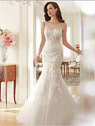 cheap -Mermaid / Trumpet Jewel Neck Court Train Lace / Tulle Made-To-Measure Wedding Dresses with Lace by LAN TING Express