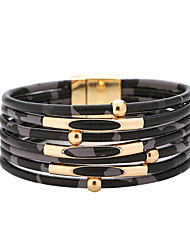 billige -Dame Armringer Multi Layer Mini Kunstnerisk trendy Oversized PU Leather Armbånd Smykker Svart / Hvit / kaffe Til Graduation Gate Klubb