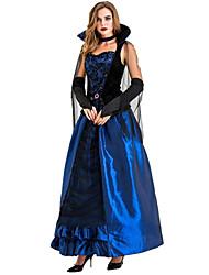 abordables -Vampire Robe Costume de Cosplay Costume de Soirée Adulte Femme Cosplay Halloween Halloween Fête / Célébration Tulle Métissé Coton / Polyester Bleu Femme Déguisement Carnaval / Gants / Tour de Cou