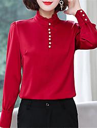 Недорогие -Жен. Рубашка Шинуазери (китайский стиль) / Элегантный стиль Однотонный Белый