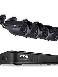 Недорогие -Zosi 8-канальный 1080p HD-TVI камеры видеонаблюдения системы видеонаблюдения P2P ик ночного видения 4шт 2.0mp открытый HD камера видеонаблюдения комплект приложения вид