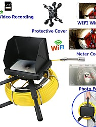 Недорогие -7-дюймовый 23-миллиметровый объектив эндоскопа HD 1080p камера для осмотра канализационных труб со счетчиком метров / видеозаписью DVR / Wi-Fi Wireless / Keyboar для редактирования фотографий-10м /
