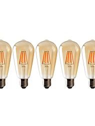 Недорогие -5шт светодиодные лампы St64 8 Вт светодиодные лампы накаливания Edison (60 Вт в галогенном эквиваленте) винтажные светодиодные лампы накаливания E26 / E27 средняя база 540lm 2700k теплое белое