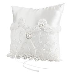 schöne perle dekoration glatte satin hochzeit ring kissen hochzeit zeremonie