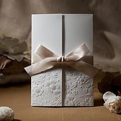 cheap Wedding Invitations-Sample Vintage Embossed Tri-fold Wedding Invitation With Ribbon Bow (One Set)