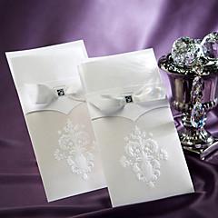 cheap Wedding Invitations-Sample Vintage White Flor-de-lis Wedding Invitation With Insert (One Set)