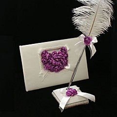 Guest Book Pen Set Satin Garden ThemeWithFeather Petals Wedding Ceremony