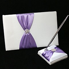 cheap Wedding Ceremony-Guest Book Pen Set Satin Garden ThemeWithBowknot