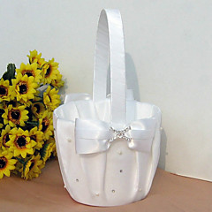 cheap Flower Baskets-Flower Basket Satin Faux Pearl Rhinestones Bow Wedding Ceremony