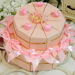 cheap Cake Boxes-Pyramid Card Paper Favor Holder with Ribbons Flower Favor Boxes - 20