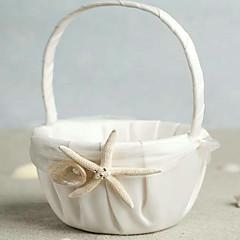 cheap Flower Baskets-Beach Themed Starfish Design Ivory Satin Flower Girl Basket