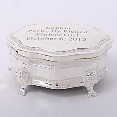 tanie Prezenty dla druhen-spersonalizowane posrebrzane tutanki delikatne pudełko z biżuterią w eleganckim stylu