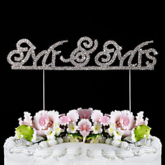 Cake Topper Classic Theme Classic Couple Stainless Steel Wedding With Rhinestone Poly Bag