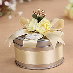 cheap Favor Holders-Cylinder Metal Favor Holder with Ribbons Favor Boxes Favor Tins and Pails