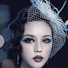 baratos -Mulheres Penas Tule Capacete-Casamento Ocasião Especial Ao ar Livre Véus de Rede
