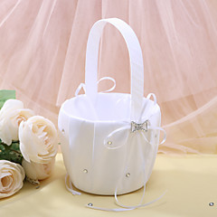 cheap Flower Baskets-Flower Girl Basket In White Satin With Rhinestones Wedding Ceremony