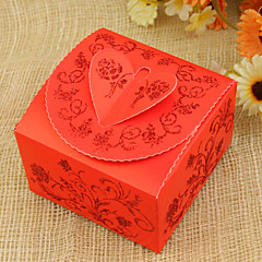 立方体カードの紙の好むホルダーリボン好きな箱 - 12結婚式の好意