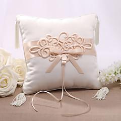 Almofada de cetim de casamento de cetim elegent com cerimônia de casamento de nó chinês
