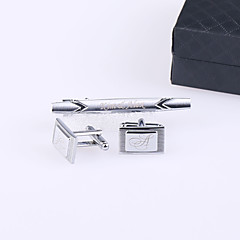 cheap Groomsmen Gifts-Groom Groomsman Stainless Steel Cufflinks & Tie Clips Wedding Anniversary Birthday Business