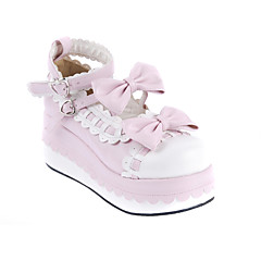 cheap Lolita Footwear-Lolita Shoes Sweet Lolita Dress Princess Wedge Heel Shoes Bowknot 7 CM White Pink For PU Leather/Polyurethane Leather