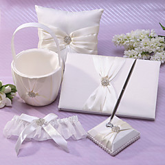 cheap Wedding Collection Sets-Classic Theme Collection Set With Rhinestones Sash Satin Wedding Ceremony