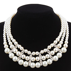 Elegant Imitation Pearl Strand With Rhinestone Women's Necklace