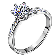 Hot Fashion Silver Wedding Rings with Shiny Zircon Stone