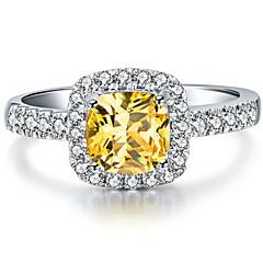 3 karaat halo-stijl kussen vrouwen sona kristallen diamanten ring 925 zilver wit goud luxe