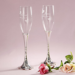 cheap Toasting Flutes-Pesonalized Floral Engraved Design Stem Toasting Flutes Wedding Reception