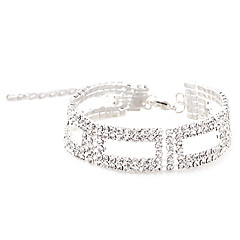 cheap -Victoria Czech Crystal Silver Plated Chain Bracelet