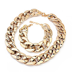 European Chain Bracelet & Necklace Plastic Jewelry Set