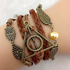 cheap -Men's Women's Leather Bracelet Multi Layer European Personalized Leather Triangle Shape Wings / Feather Infinity Owl Jewelry For Party