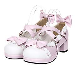 Încălțăminte Lolita dulce Prințesă Toc Înalt Încălțăminte Nod Papion 4.5 CM Pentru PU piele/Piele poliuretan